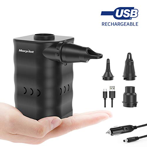 Electric Air Pump, Portable Quick-Fill Air Pump with Nozzles,Rechargeable Inflator/Deflator Pumps for Outdoor Camping Inflatable Cushions, Air Mattress Beds, Boats, Pool Toy ()
