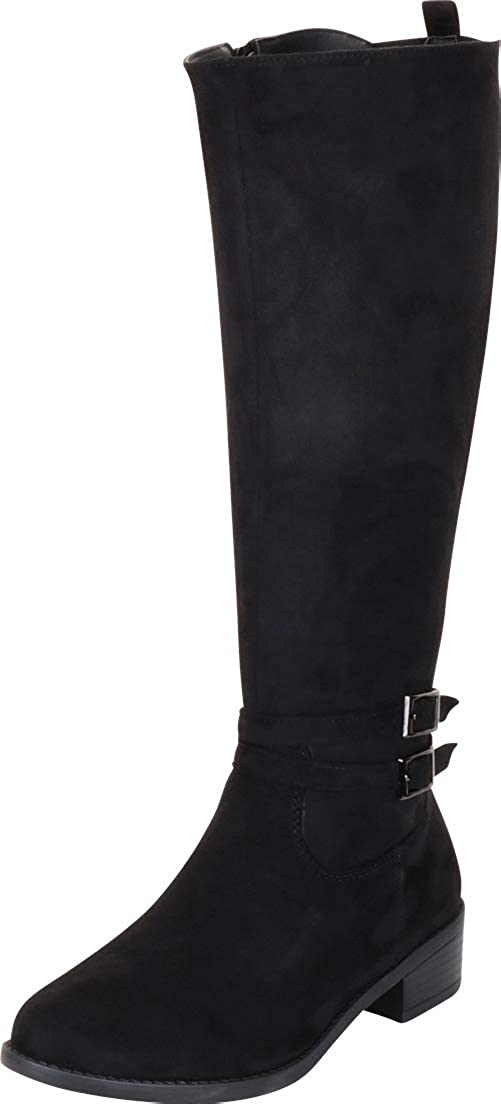 Black Imsu Cambridge Select Women's Strappy Buckle Low Heel Knee-High Riding Boot