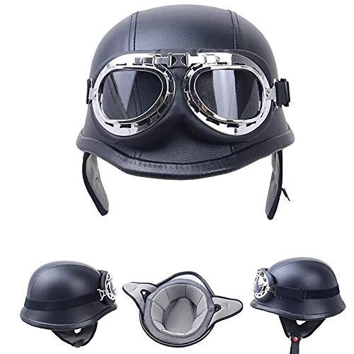 Legal Street Leather (Sunzy Moto Helmet - Defensive Steel Half-Shell Motorcycle Vespa Scooter Jet Buoy Helmet Pilot Cruiser Retro Moped Chopper Helmet Riding, Including Goggles,M)