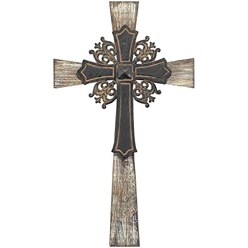 Antiqued Intricate Double Layer 15 Inch Wood and Metal Decorative Hanging Wall Cross