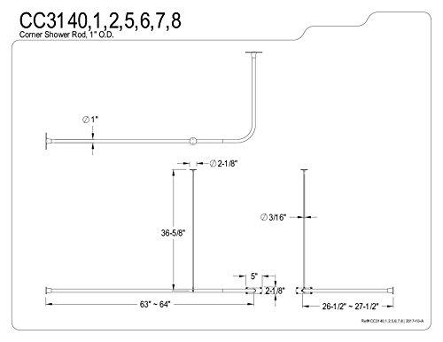Kingston Brass CC3141 63-Inch Large Size by 26-1/2-Inch Corner Shower Rod, Polished Chrome by Kingston Brass (Image #2)