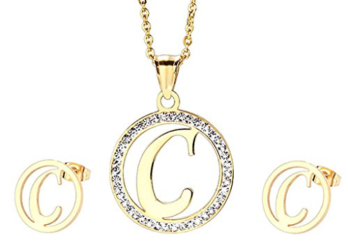 Gnzoe Jewelry Womens Jewelry Sets Gold Stainless Steel Chain Zirconia Earrings Letters