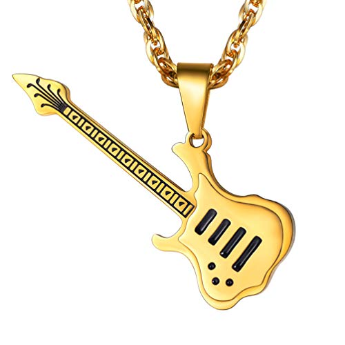 (PROSTEEL Guitar Necklace 18K Gold Plated Pendant & Chain Gifts for Musicians Guitar Player Guitar Charm Music Lover Men Hip Hop Jewelry)