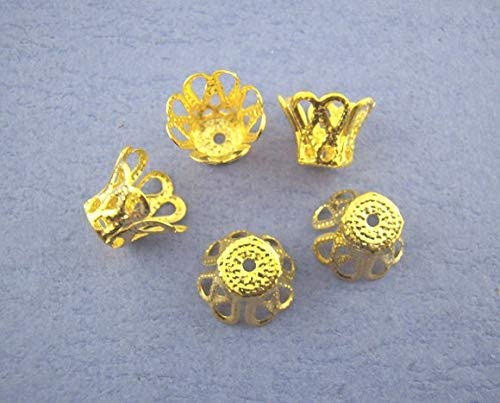 260 PCs Gold Plated Ornate Filligree Bell Bead Caps-7mm