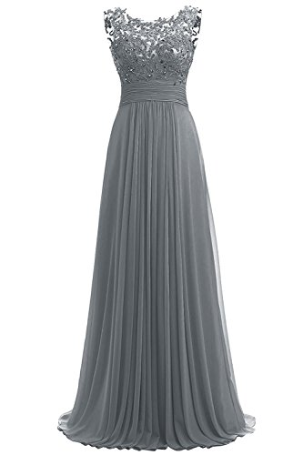 PROMLINK Women's Beaded Chiffon Long Dresses for Gown Wedding Guest Grey