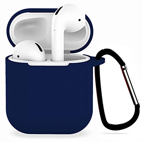 Anti Water Usb - Compatible with Airpods 1/2 USB Wire Charging Silicone Case -[Support USB Wire Charging][Airpods 1/2 Fitting Tested][Extra Protection] with Anti-Lost Carabiner-Darkblue