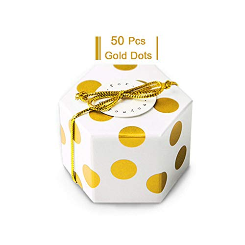- Gold Polka Dot Candy Box with Gold Ribbon and Round Card, Hexagon Gold Dots Style Design for Wedding Candy Box,Baby Shower Box,DIY Chocolate Cookies Case,Birthday Party Supplies Pack of 50