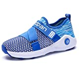 LGXH Boys Girls Lightweight Casual Tennis Shoes Ant-Slip Youth Kids Sports Walking Athletic Footwear Sapphire Size 4 M US Big Kid