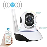 Wireless Wifi IP Security Camera 1.3MP 720P Indoor Home Surveillance System Baby Pet Monitor 2 Way Audio, Day/Night Vision P2P WIFI IP Pan/Tilt Camera