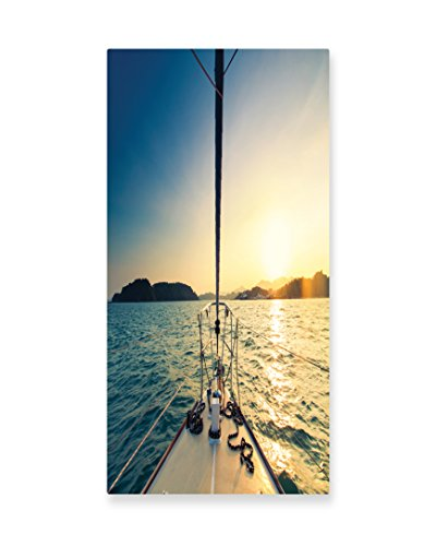 Lunarable Sailboat Nautical Wall Art, Nose of Yacht Sailing in the Sea at Sunset Distant Hills Seaside Sun, Gloss Aluminium Modern Metal Artwork for Wall Decor, 11.6 W X 23.5 L Inches, Blue Yellow