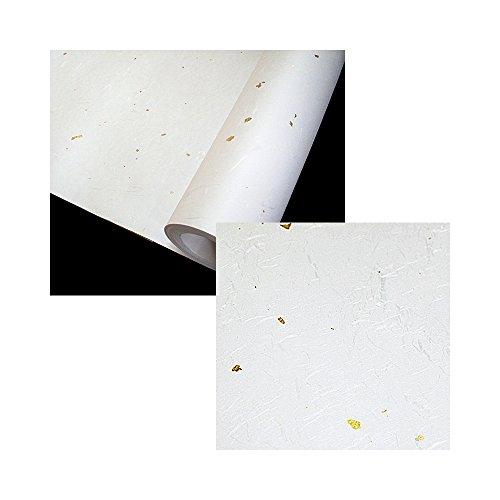"Korean Traditional Mulberry Paper HanJi Roll Various Colors & Spots Fibers Texture White (Gold Spot) 40.9"" x 629.9"""