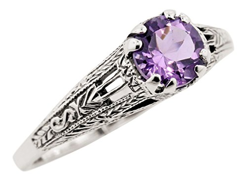Vintage Style Sterling Silver Filigree .70ct Amethyst Ring