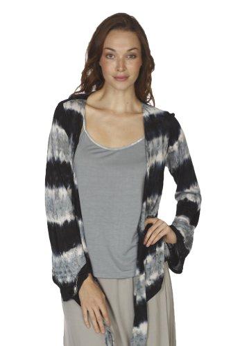 Santiki Kirra Long Sleeved Tie-Dye Lightweight Cardigan Sweater - Black/Grey ... Long Sleeved Tie Dye