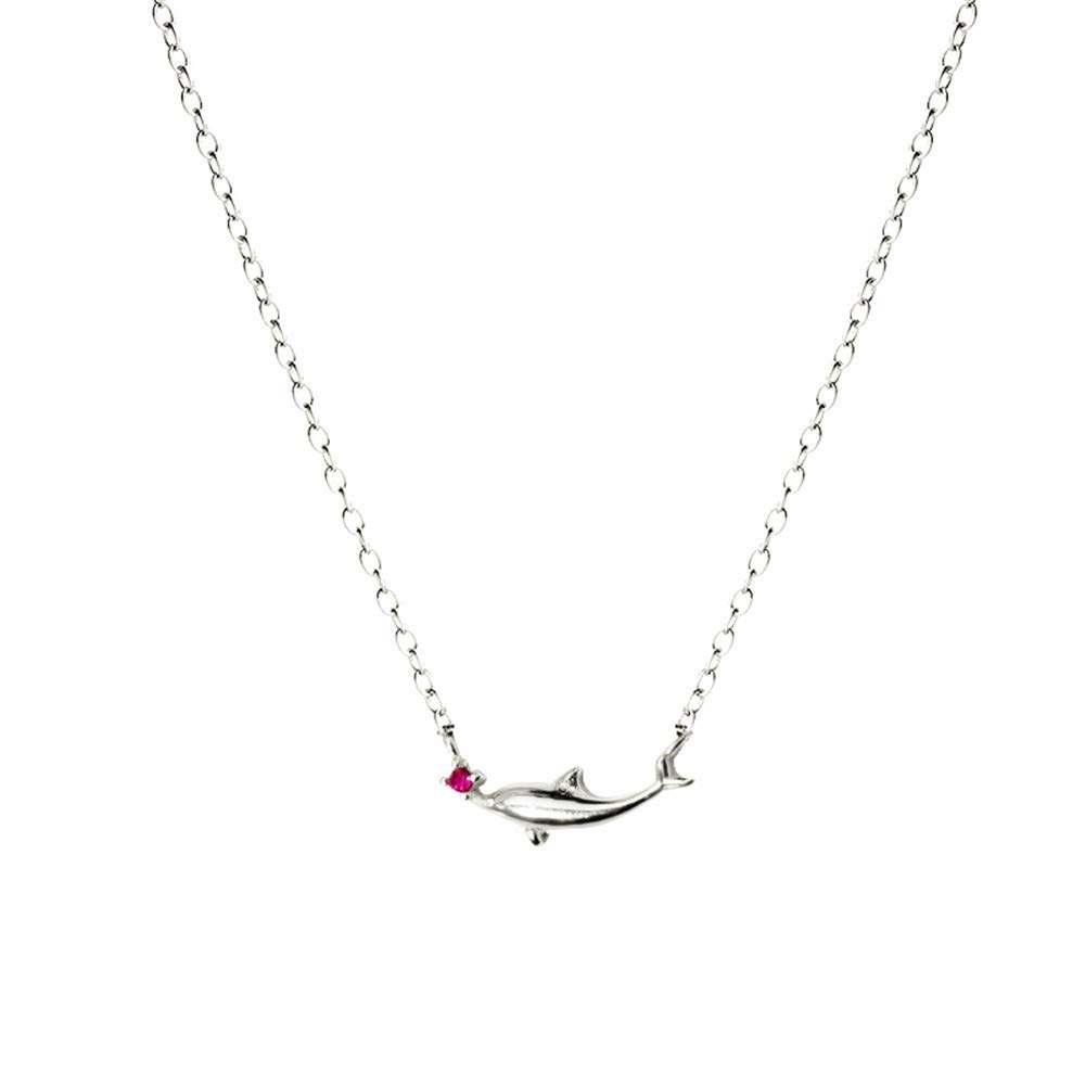 silver Dana Carrie Women jewelry S925 sterling silver dolphin pendant necklace personality creative clavicle chain simple gift female