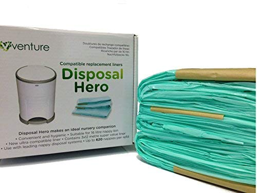 Get 33/% More Disposal Hero Liner Than Original 100/% Compatible Nappy Bin Liner Refill 16L 3-Pack EXTRA Super Saver Bonus