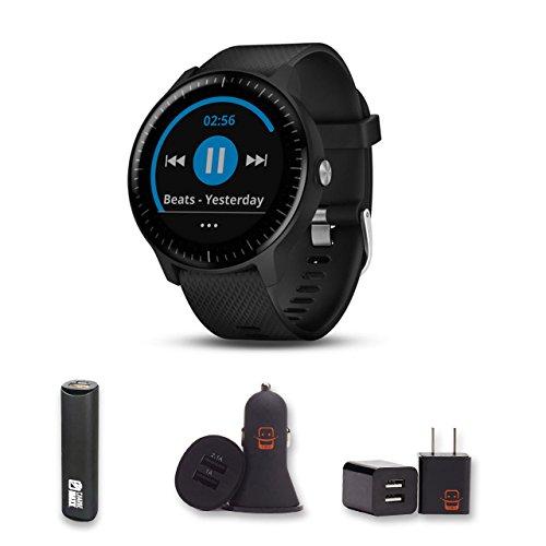 Garmin Vivoactive 3 Music (Black) GPS Smartwatch + PowerBank + USB Car Charger + USB Wall Charger, EZEE Bundle