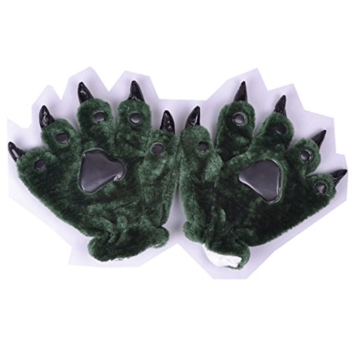 Anime Women Halloween Theme Glove Paws Furry Realistic Sharp Claws Tiger Cat Fox Dinosaur Cosplay for Costumes for Boys Men (Blackish Green) -