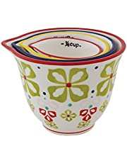 Creative Co-Op Floral Hand Stamped Stoneware Measuring Cups (Set of 4 Sizes/Designs)