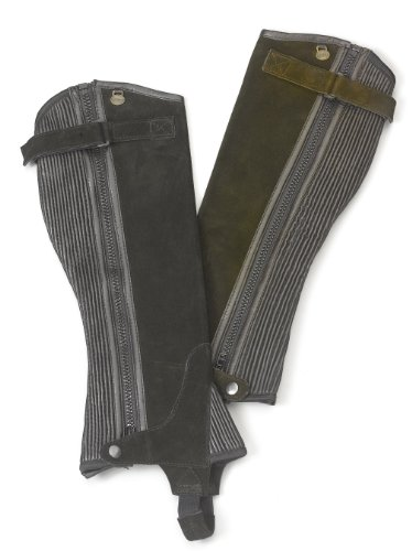 Ovation Women's Ribbed Suede Half Chaps Black MT US (Womens Chaps Stretch)