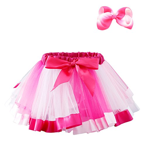JiaDuo Baby Girls Layered Rainbow Tutu Skirt Dress Up with Colorful Hair Bow Pink L