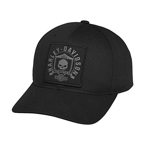 Harley-Davidson Official Men's Skull Shield Patch Cap, Black