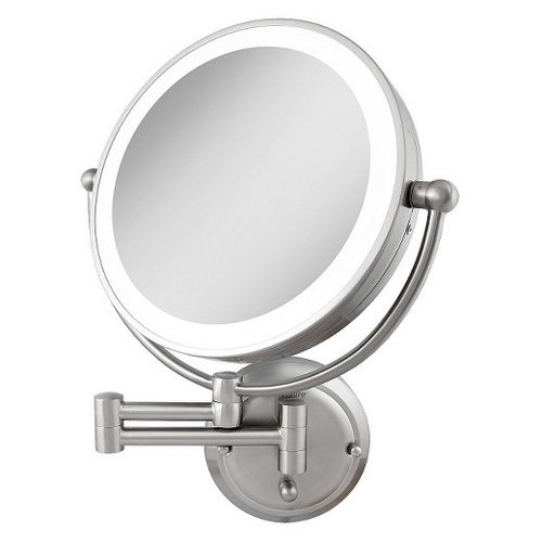 Zadro 5X Flurescent Surround Glamour Mirror Round Double Sided Dual Arm Hard Wire Ready, Satin Nickel, 14 inches