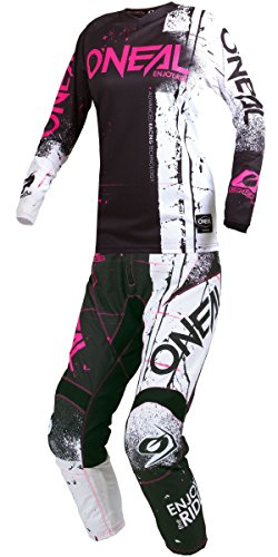 Youth Kids Mx Motocross Jersey - O'Neal - 2019 Element Shred (Youth Girls Pink Y-Medium/Y-24W) MX Riding Gear Combo Set, Motocross Off-Road Dirt Bike Jersey & Pant