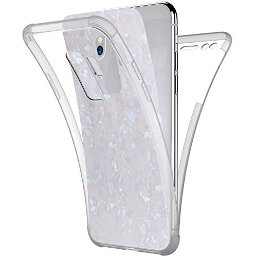 Price comparison product image Case for Galaxy S9 Plus, [Full-Body 360 Coverage Protective] Crystal Clear 2in1 Bling Glitter Shell Pattern Front Back Full Coverage Soft TPU Silicone Rubber Case Cover for Galaxy S9 Plus Case, White
