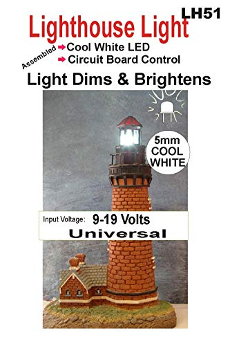 (Lighthouse LED Light - Bright/Dim Circuit for Model Lighthouse - Warm White and Cool White Colors - Runs on a 9 Volt Battery (Cool White, 5mm))