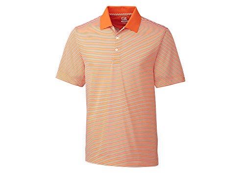 - Cutter & Buck Men's Trevor Stripe Polo Shirt | Orange Burst/White XL