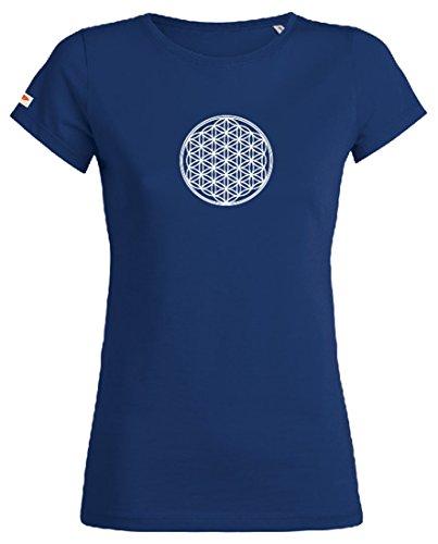 OVIVO-Inspired by Nature - Camiseta Flor de Vida 100% algodón orgánico - Azul océano - Mujer