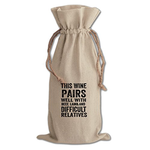 Wine Beef And Difficult Relatives Cotton Canvas Wine Bag, Cotton Drawstring
