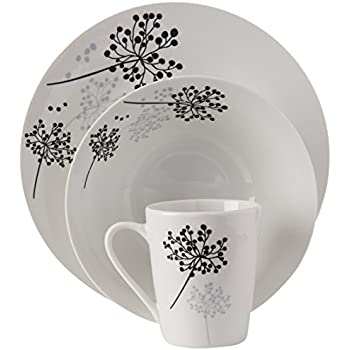 Gibson Home Netherwood 12-Piece Dinnerware Set White  sc 1 st  Amazon.com : dinnerware black and white - pezcame.com