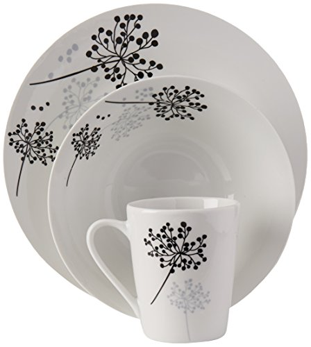 41ceNmkZgbL - Gibson Home Netherwood 12-Piece Dinnerware Set, White