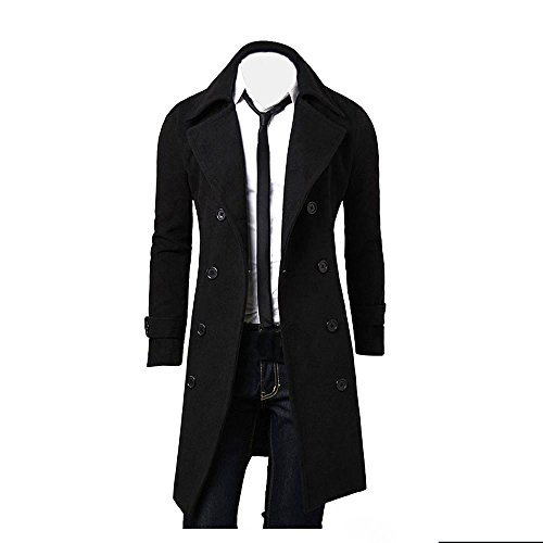 GREFER New Winter Men Slim Stylish Trench Coat Double Breasted Long Jacket Parka (M, Black)