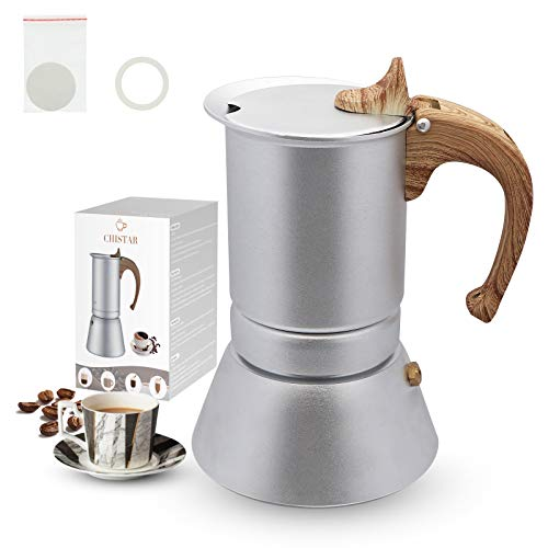 CHISTAR Cafetera italiana para 4 tazas, cafetera de inducción, con junta de sellado y papel de filtro de aluminio, 200…