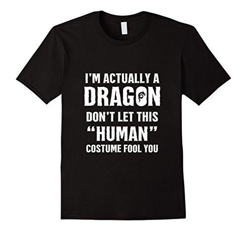 "Mens ""I'm Actually A Dragon"" - Funny Halloween Costume T-Shirt XL Black"