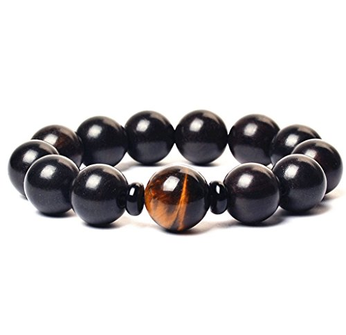 Black Wood Bead Handmade Prayer Bracelets with Tiger Eye Bead-15mm Bead