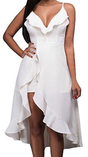 YeeATZ Women's Fashion White Ruffle High-low Romper Dress (Flash Rubber Wig)
