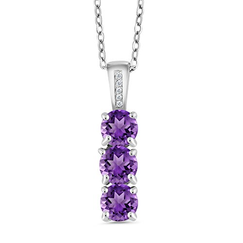 Gem Stone King Sterling Silver Amethyst and Diamond Pendant Necklace 3-Stone Gemstone For Women 1.39 cttw Round Fine Jewelry with 18inches Silver Chain ()