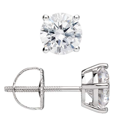 Everyday Elegance | 14K Solid White Gold Round Cut Cubic Zirconia Stud Earrings | 1.50 ctw | Screw Back Posts | With Gift Box by Everyday Elegance Jewelry