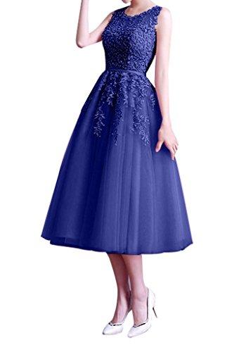 Braut Royal Brautjungfernkleider Blau La Partykleider Tuell mia Lang Knielang Abendkleider Anmutig Spitze Ballkleider Bnp5q