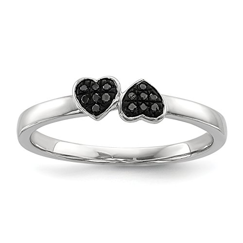 ICE CARATS 925 Sterling Silver Black Diamond Stackable Band Ring Size 6.00 S/love Fine Jewelry Gift For Women Heart by ICE CARATS