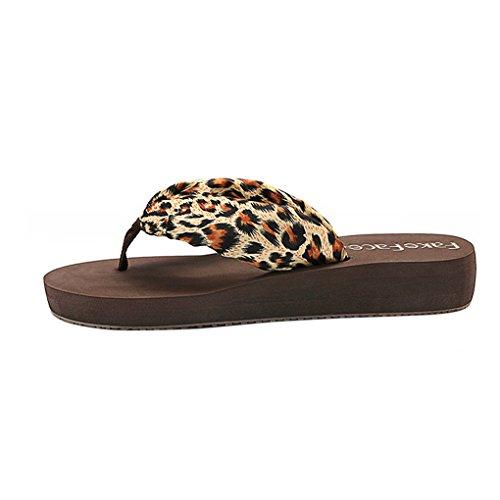 Womens Bohemian Flip Flop Sandals Summer Beach Slippers Anti-skid Mules Mid-Heel Wedge Thong Sandals Leopard, Brown Sole