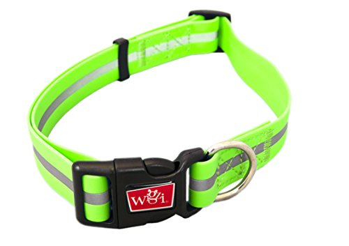 Reflective, Waterproof, Stink Free, Adjustable and Durable Collar For Dogs - 2 Year Warranty- Neon Green, Medium Size