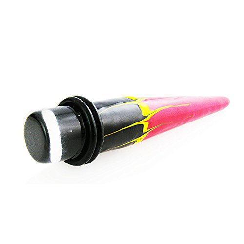 5MM Hand Painted Flame UV Straight Ear Expander Body jewelry