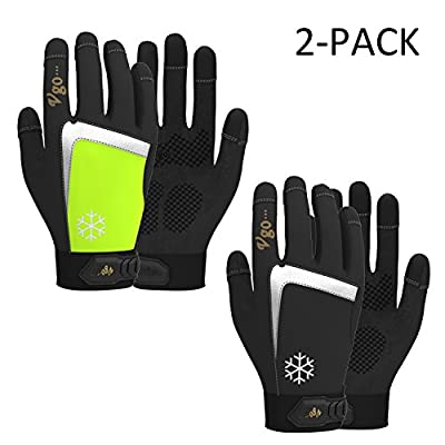 Vgo 2Pairs High Dexterity Touchscreen Synthetic Leather Winter Warm Work Gloves, C40 Thinsulate (Black,Fluorescent Green,Size Size 8/M, 9/L and 10/XL)