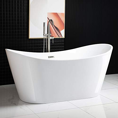 Woodbridge Acrylic Freestanding Bathtub Contemporary Soaking Tub With Brushed Nickel Overflow And Drain Bta1515 B White 67 B 0010
