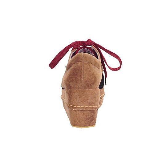 Medio Assortito Plastica Chiusa Tacco Ballerine Punta Allacciare VogueZone009 Rosso Donna Tonda Colore Punta W16qwOF8vx