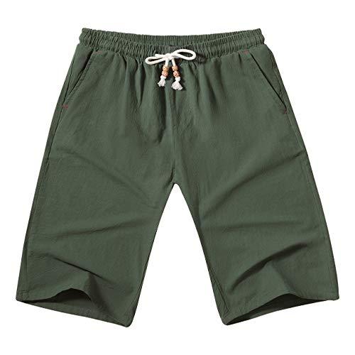 - WULFUL Men's Casual Classic Fit Shorts Drawstring Summer Beach Linen Shorts Army Green